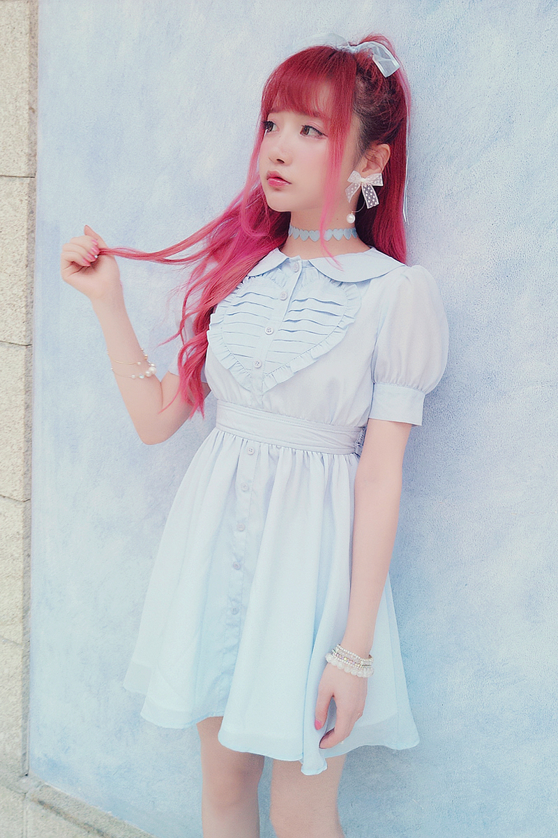Soie bleu Lolita De Bobon21bow Amour Robe En rose Cravate Beige Mousseline Princesse Douce Pliez D1491 31lJuTcKF5