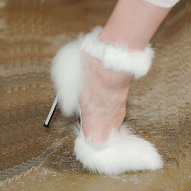 Abesire Hot 2019 Women Sexy White Fur High Heels Ankle Strap Sandals Ladies Pointed Toe Elastic Band Dress Runway Shoes WomanAbesire Hot 2019 Women Sexy White Fur High Heels Ankle Strap Sandals Ladies Pointed Toe Elastic Band Dress Runway Shoes Woman