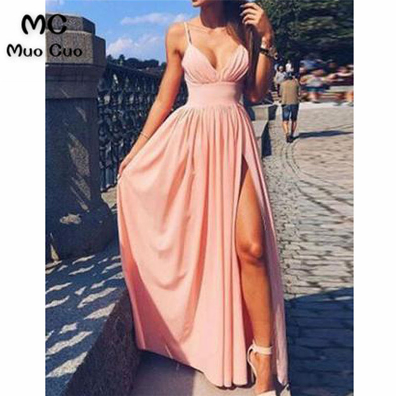 2018 Simple Prom Dresses Long V-Neck Straps Chiffon Front Slit Backless Formal Evening Party Dress For Women Custom Made
