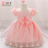 DE PEACH 2019 New Baby Wavy Striped Beaded Dress Baby Girl Princess Wedding Party Dress Cute Bow Toddler Infant Christening Gown