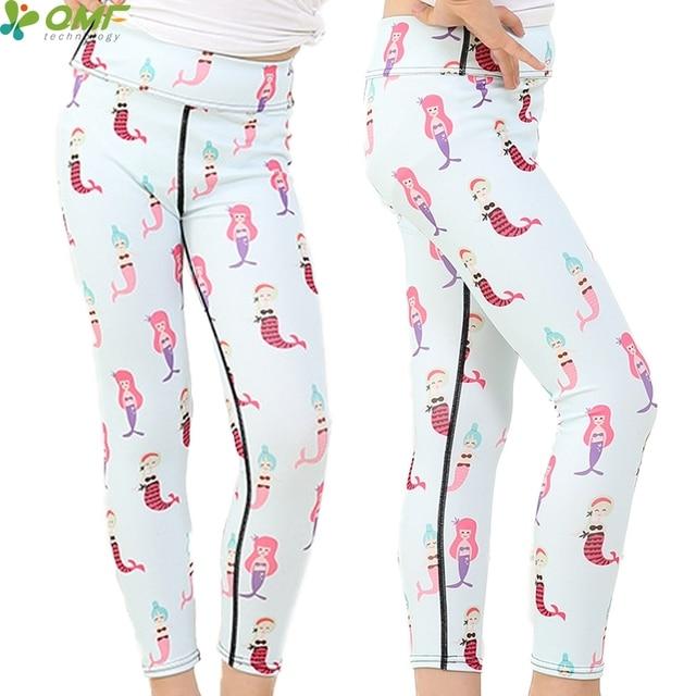 83e0985ebe Multi Cartoon Mermaid Print Girl Princess Yoga Pants High Elastic Bodycon  Youth Trousers Exercise Sports Children Leggings Slim