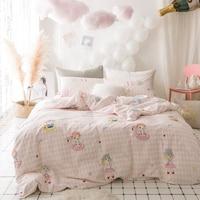 소녀 인쇄 한국어 스타일의 침구 세트 직물 4 개 트윈 핑크 퀸 사이즈 이불 커버 플랫 시트 베개