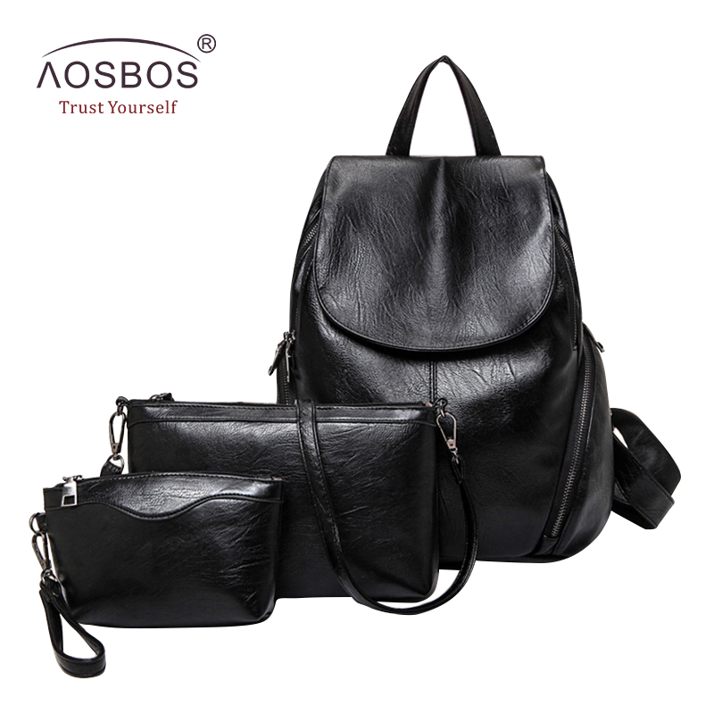 Aosbos Women 3 Pcs Set PU Leather Backpacks for Teenage Girls Fashion Multifunctional Ladies Waterproof Black