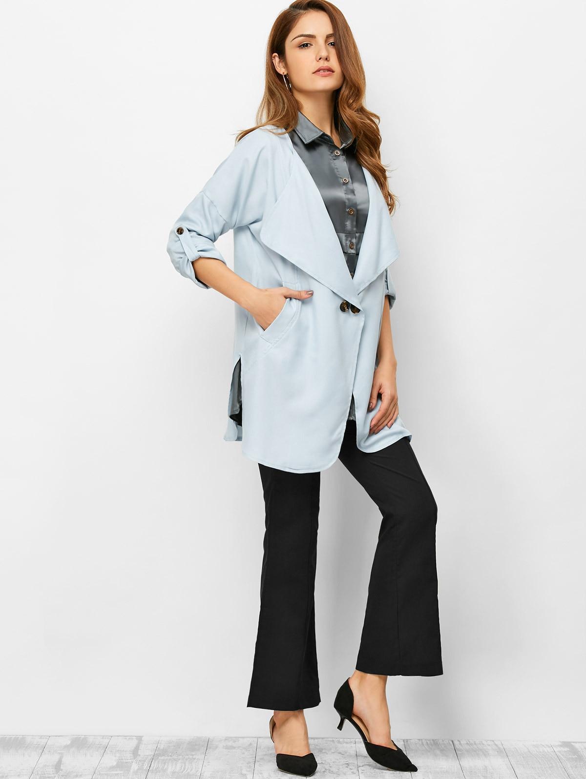 1 Pcs Fashion Spring Autumn Women Khaki Blue Pure Color Linen Long Single Button Windbreaker Jacket  Thin Coat Overcoat