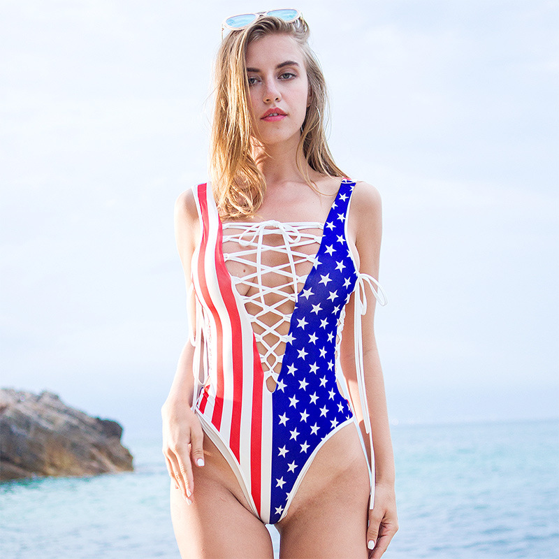 Sexy Women Bandage Stripe Usa Flag Print High Cut Bodysuit Thong Swimwear Pole Dance Wear Erotic Lingerie Sexy Jumpsuit F48 The Latest Fashion Luggage & Bags