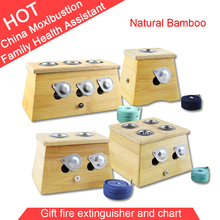 Wholesale and Retail Good Quality Double hole Bamboo Moxa Box + Fire extinguisher, Moxibustion kit, Health Product,