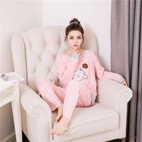 Foply Autumn Winter Women Flannel Pajamas Set 2017 Women Pajamas Pant Sleepwear Warm Nightgown Printed Sleepwear