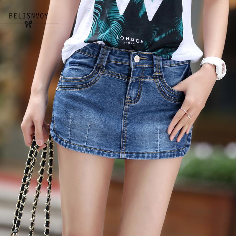 Summer Denim Skirt   Shorts   Female 2018 Fashion High Waist Stretch All-Match Women   Shorts   Skirt Plus Size Blue Jeans   Shorts