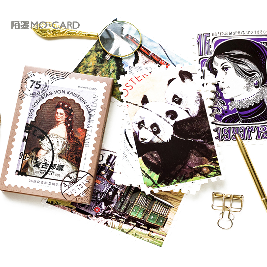 4packs/lot Original Boxed Postcards Vintage Stamps Creative DIY Birthday Gift Postcard  And For Greeting Card