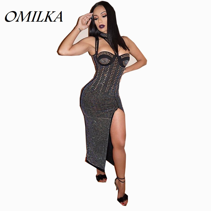 Buy Cheap OMILKA 2017 Summer Women Studded Choker Side Split Dress Sexy Black Diamonds Celebrity Evening Club Party Beading Midi Dress