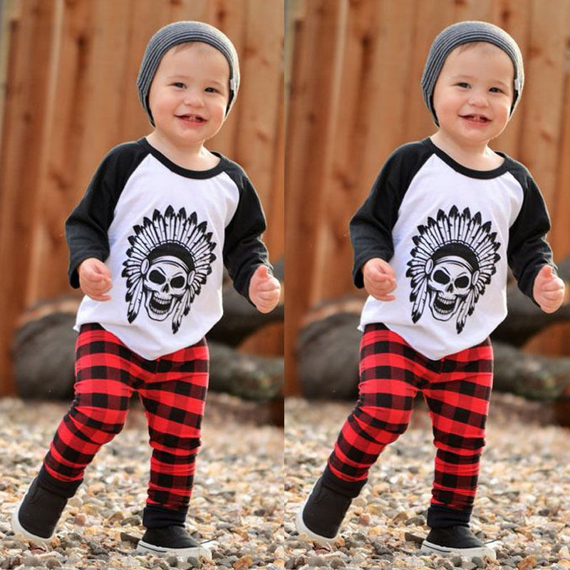 2016 Baby Clothes Set Newborn Toddler Infant Baby Boys Girls Cotton Halloween Long Sleeve Tops And Plaid Pants Outfits Set 2pcs  newborn baby halloween vampire cosplay jumsuit toddler boys girls funny cute clothes set kids photography props birthday gift