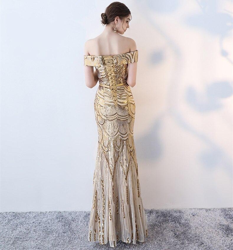 Robes De soirée sirène longues paillettes col bateau Longue Robe formelle 2019 épaule dénudée Elie Saab robes Robe De soirée Longue Femme - 2
