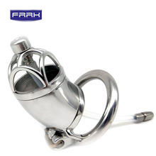 FRRK 304 Stainless Steel Chastity Belt Lockable Penis Cage with Cock Ring Male Chastity Device Urethral Catheter Adult Game