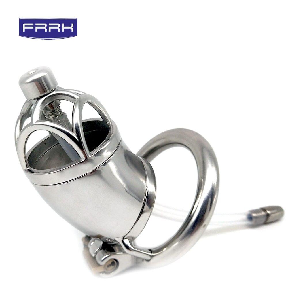FRRK 304 ceinture de chasteté en acier inoxydable Cage à pénis verrouillable avec anneau de bite dispositif de chasteté mâle cathéter urétral jeu pour adultes