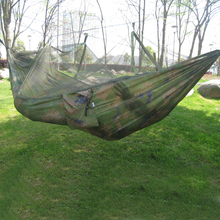 260x130cm Portable Outdoor Garden Army Green/Camo High Strength Parachute Fabri Camping Mosquito Hammock with Nets