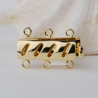 Solid 9k Karat Yellow Gold Box Clasp Triple Strand Au375 9ct Oro Buckle for Necklace Jewelry Findings and Components