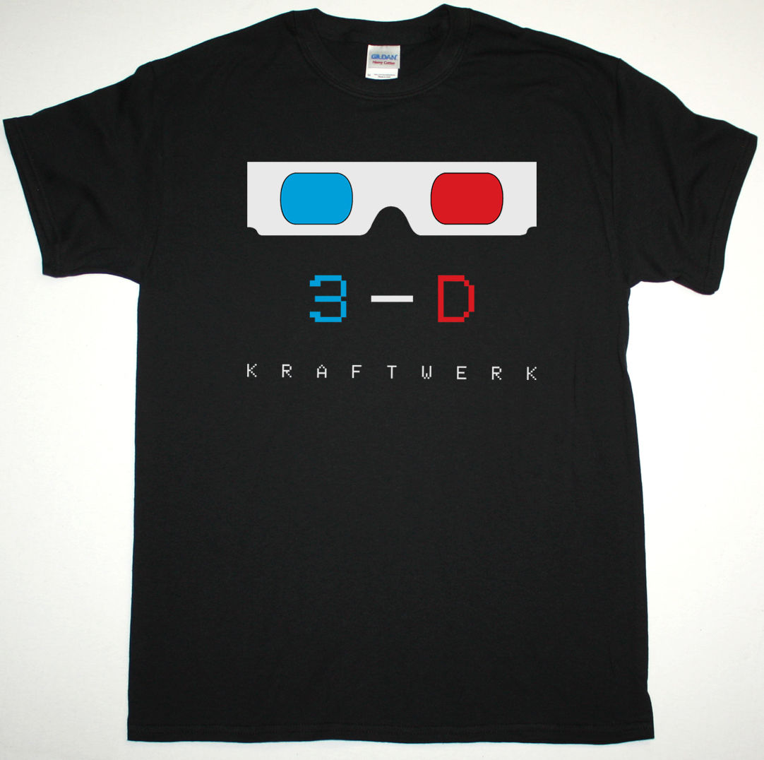 KRAFTWERK 3-D BLACK / WHITE MENS T SHIRT ELECTRONIC SYNTH KRAUTROCK ORGANISATION