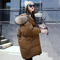 2017 зимние Для женщин пальто с капюшоном меховой воротник теплая длинная куртка Женский Плюс Размеры верхняя одежда парка дамы Chaqueta Feminino
