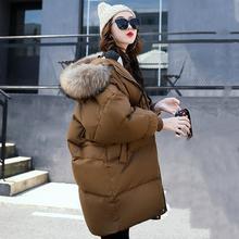 2017 зима для женщин пальто с капюшоном меховой воротник утепленная длинная куртка Женский плюс размеры Верхняя одежда парка дамы Chaqueta Feminino