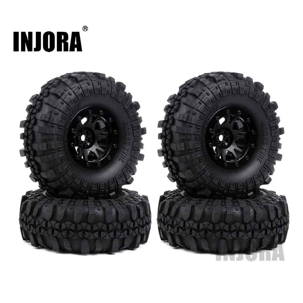 INJORA 4Pcs Plastic 1.9 Beadlock Wheel Rim Tires Set for 1/10 RC Crawler Axial SCX10 90046 Tamiya CC01 D90 D110 mxfans rc 1 10 2 2 crawler car inflatable tires black alloy beadlock pack of 4