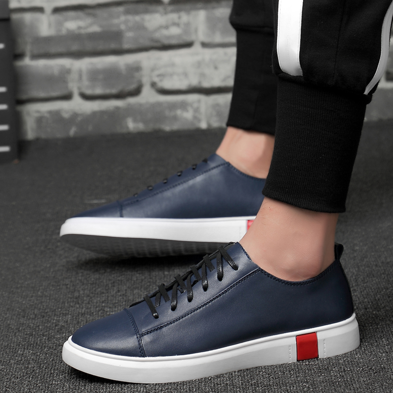 2019 new fashion men 39 s shoes genuine leather breathable blue black white platform shoes man lace up shoes for men big size 36 47 in Men 39 s Casual Shoes from Shoes
