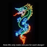 DRAGON Game Room Open Neon Light Sign Real Glass Tube Neon Bulbs Beer Bar Pub Recreation