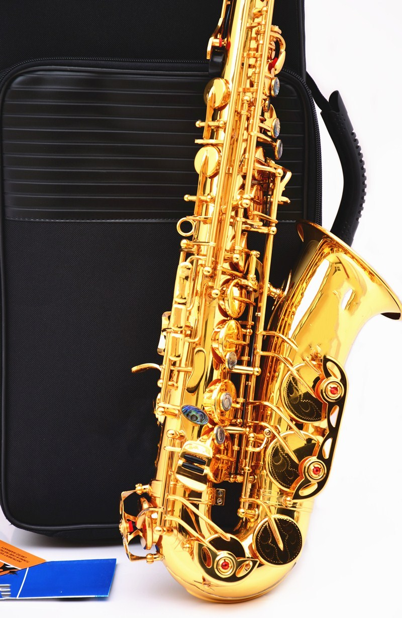 2018 New French 54 Alto Saxophone double Key E flat saxophone musical instrument Alto Saxophone super Professional performances new arrival screw nut plug saxophone trumpet erhu musical woodwind instrument microphone prevent mechanical noise for helicopter