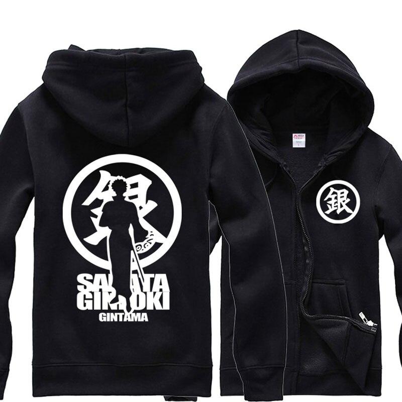 Anime GINTAMA Casual Hoodies Fleece Hooded Sweatshirt Jersey Drawstring Neck Hoodie Pocket Warm Tops Fashion Coat For All Season