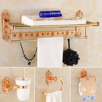 NEW European Luxury Bathroom Accessories Set Towel Rakc Towel Bar Shelf Hook Toilet Paper Hair Dryer