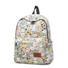Printing Backpack Canvas Bag Fashion Women Backpack School Bags For Teenagers Girls Durable Laptop Backpack Casual Travel Bag(China)