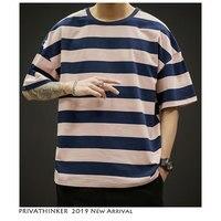 Men Summer Funny T Shirts Streetwear 2019 Harajuku Men Oversized Casual T Shirt Male Stripe Cotton Tshirt Colorful
