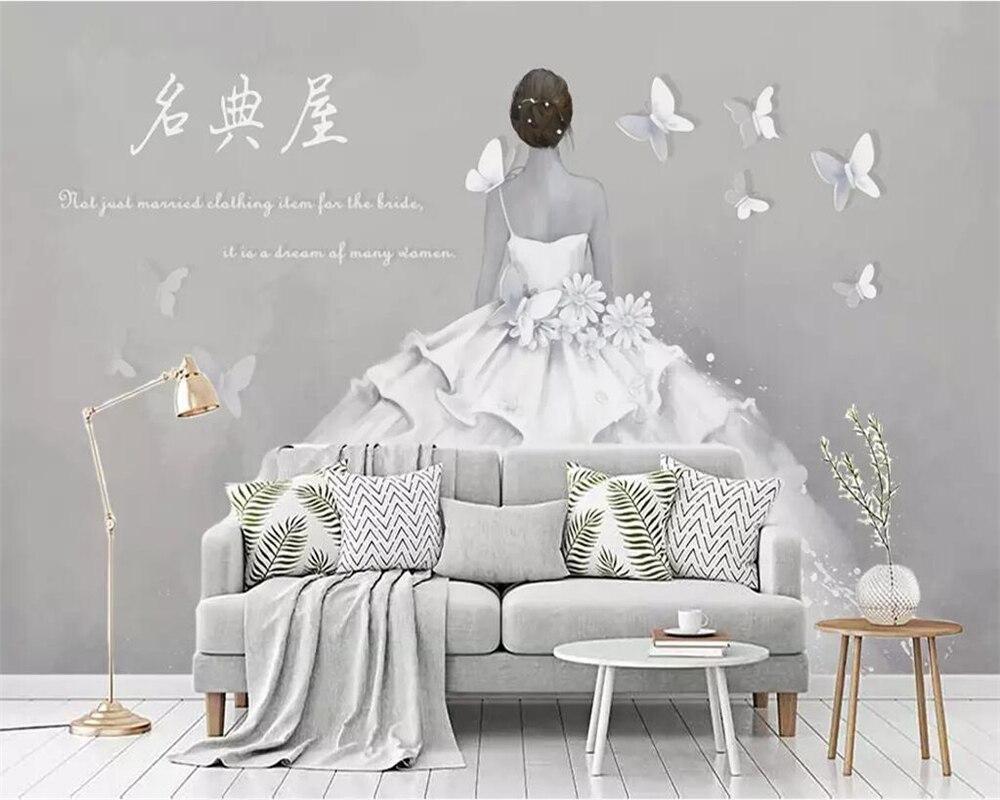 Wellyu カスタム壁紙 3d 壁画 Oboi レトロバックウェディングドレス