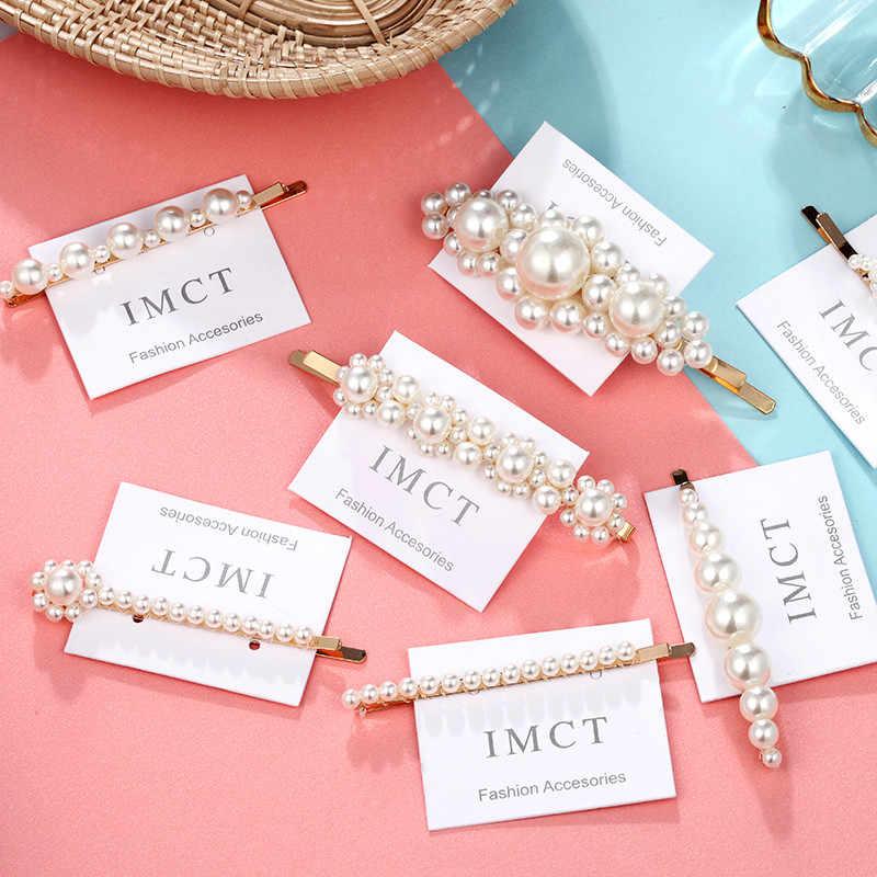 1 SET Elegant Pearl Hair Pins Metal Geometric Gold Color Korea Imitiation Hair Clip For Bridal Hair Accessories  2019 New