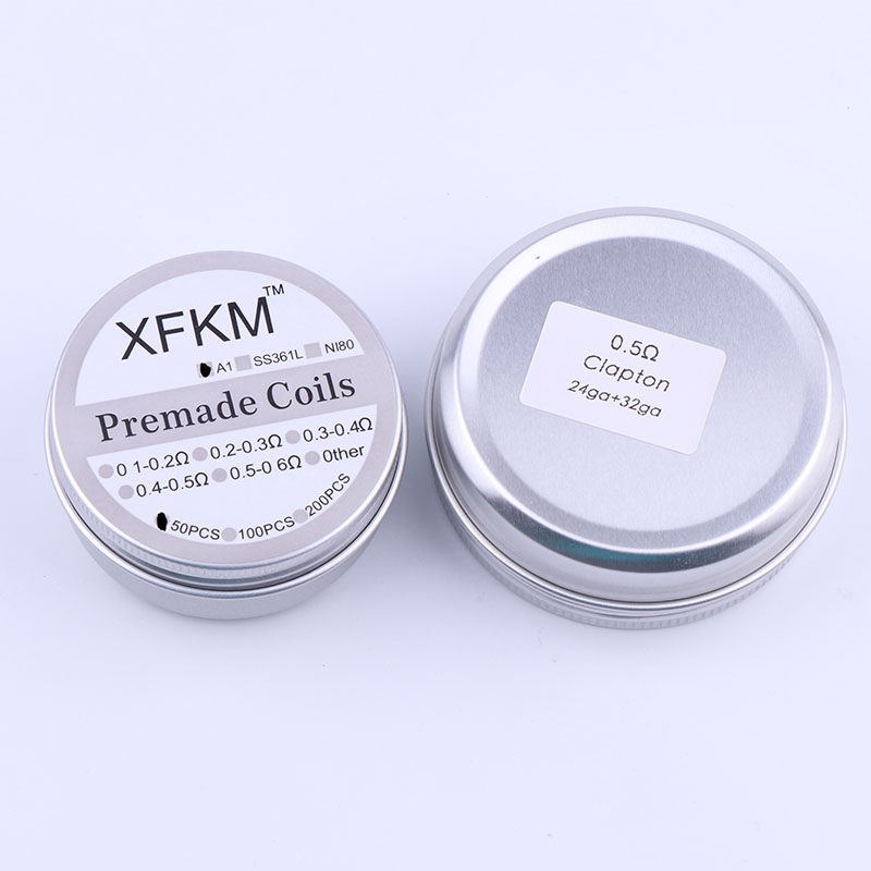 50 Pieces XFKM Heating Wire Coil RDA Coiling Flat Twisted Fused Hive Clapton Coils Prebuilt Wrap Wires Alien Mix Twisted