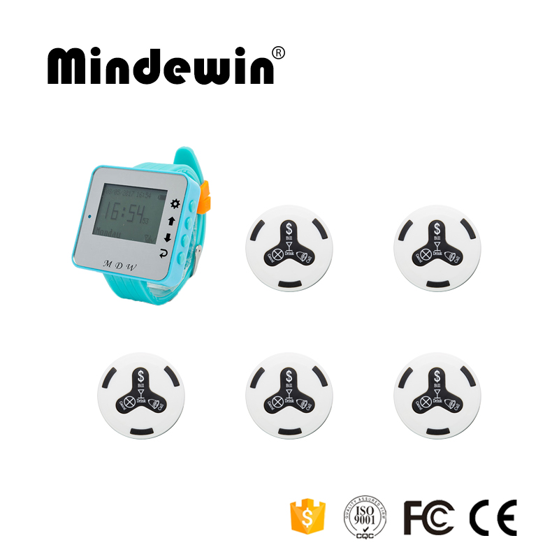 Mindewin 1pc M-W-1 Wrist Watch Pager Receiver+5pcs M-K-4 Call Button Restaurant Pager Wireless Calling System Waiter Call Pager wireless pager system 433 92mhz wireless restaurant table buzzer with monitor and watch receiver 3 display 42 call button