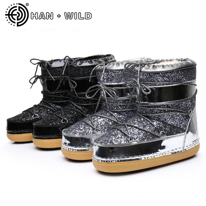 New 2018 Women Space Boots Natural Wool Snow Boots Women Bling Ankle Boots Casual Ladies Warm Winter Shoes Skiing Boots