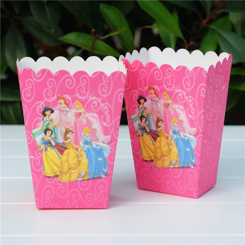 6 шт./лот, платье принцессы Золушки Белоснежки, красота и с рисунком из мультфильма «Красавица и Чудовище» попкорн коробка подарочная коробк...