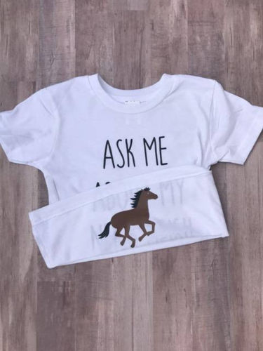 Infant Boy Girls Baby Horse Inside T-shirt Tees Toddler Shirt Tops Clothes