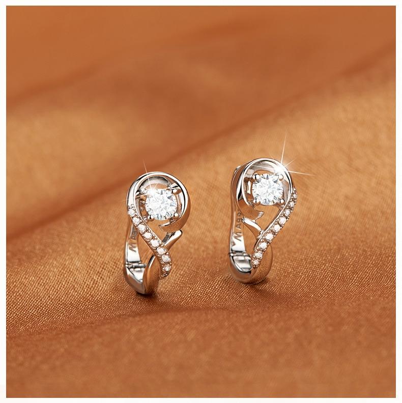 Junkang European And American Fashion Classic Charm Silver Woman Note Rhinestone Stud Earrings Ear Buckle