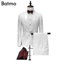 2017 новое поступление жаккард Белый Свадебные костюмы для мужчин, высокое качество хлопка костюмы мужчин, размер M, L, XL, XXL, XXXL, XXXXL куртка + Штан...