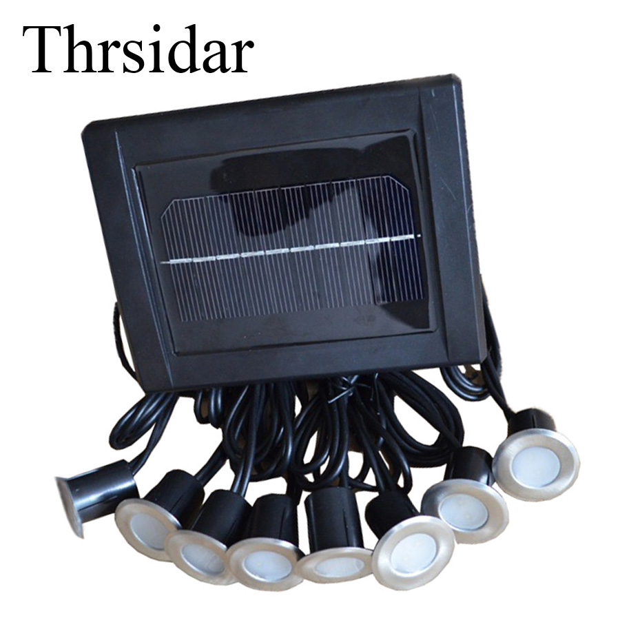 Thrisdar 1PC Solar Panel With 8PCS Underground Floor Buried Lamp IP65 Outdoor Landscape Stairway Pathway Decking Lamps
