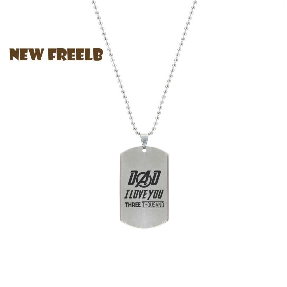 New 2019 Avengers I love you 3000 Times Necklaces Stainless Steel Dog Tag Pendant for Unisex Men Father's Day Gift Drop Shipping