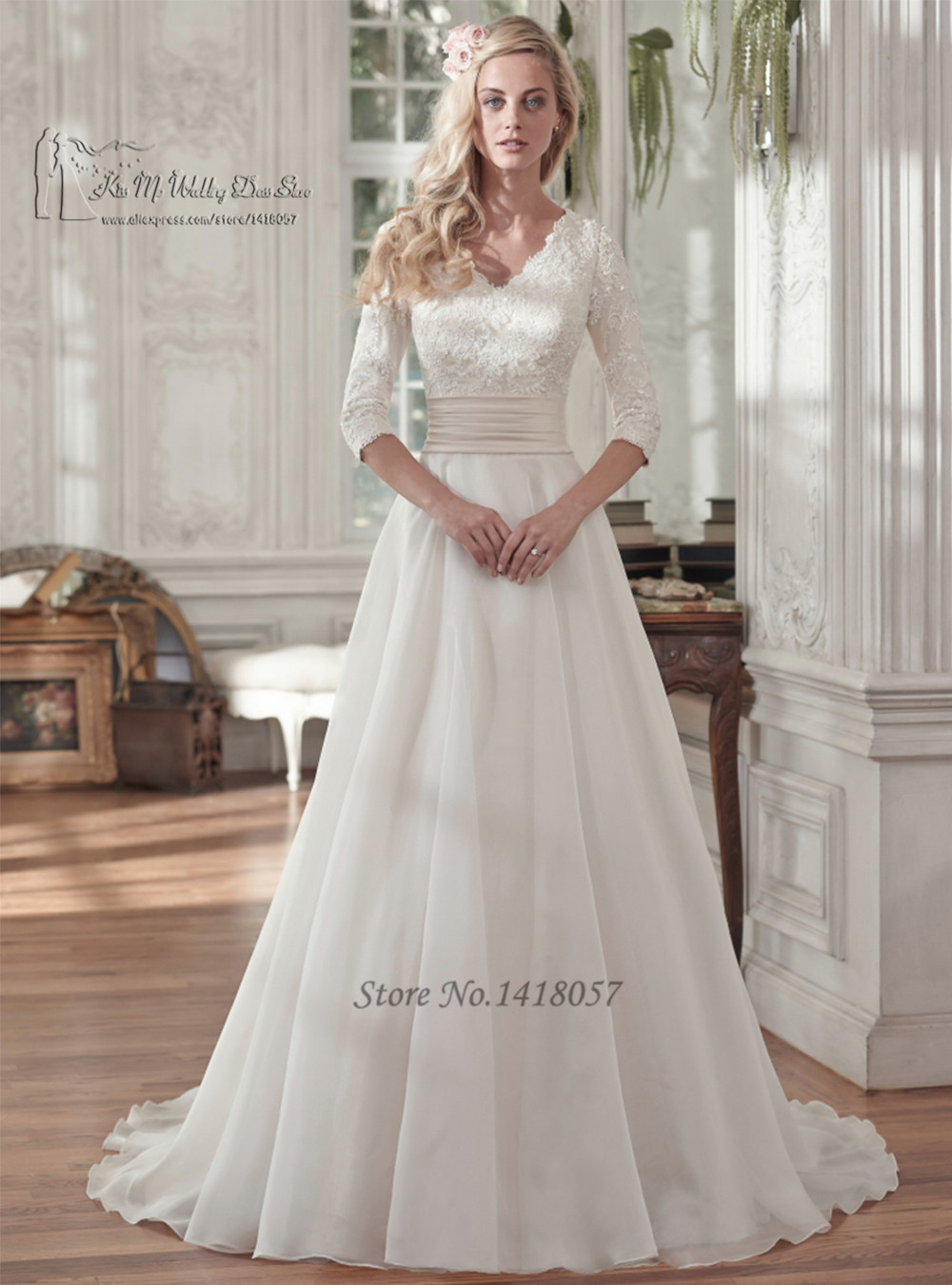 Vestido de Noiva 2016 Vintage Wedding Dresses Lace 3 4 Sleeves A Line Bridal Gowns Custom
