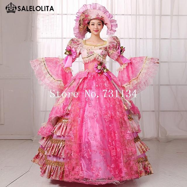 Hot Sale Pink Floral Civil War 18th Century Marie Antoinette Dress ...