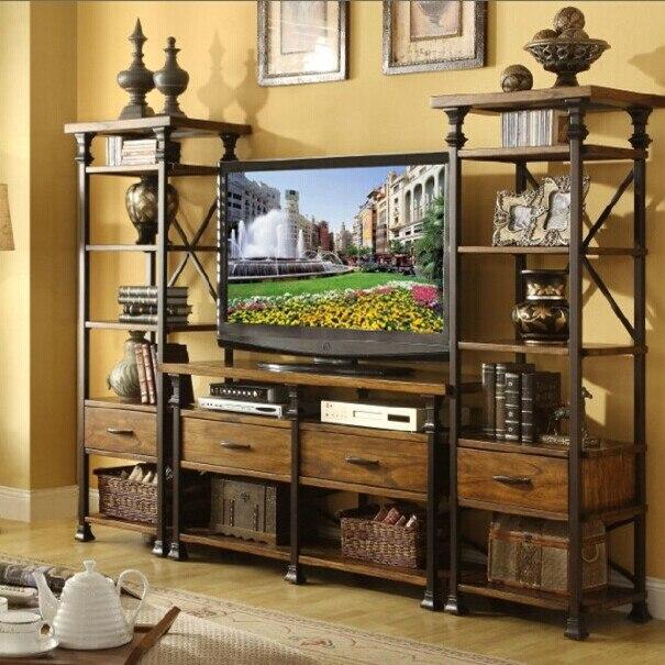 ijzer hout woonkamer tv kast tv achtergrond rekken niet de oude tv