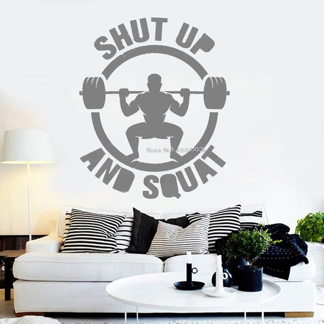 """Newly Fitness Wall Decals """"Shut Up And Squat""""Quote"""