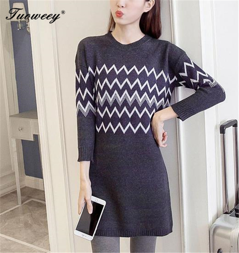 autumn Winter Warm O-neck Sweaters Knitted Pullovers Female Long Bodycon Christmas Sweaters Geometry Pattern Knitwear