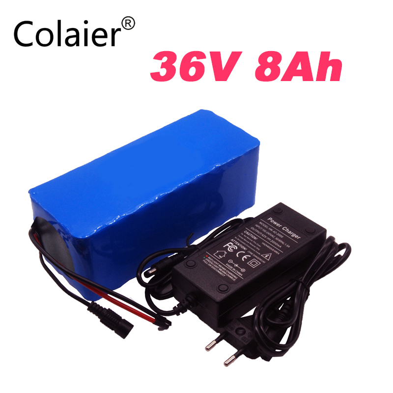 2018 Colaier 36V 8ah 500W 18650 batería de litio 36V 8AH batería de bicicleta eléctrica para bicicleta eléctrica 36V 2A carga Paquetes de baterías     -