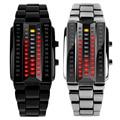 Luxury Lovers' Wristwatch Waterproof Men Women Stainless Steel Red Binary Luminous LED Electronic Display Sport Watches Fashion