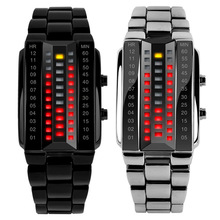 De lujo de Los Amantes Del Reloj Impermeable Hombres Mujeres Acero Inoxidable Rojo Binario Luminoso LED Pantalla Electrónica Relojes Deportivos de Moda